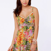 Mink Pink Paint by Numbers Floral Print Sundress