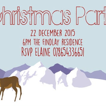 Printable Christmas Party Invitation, Customised Party Invite, Personalised Holiday Invite, Deer and Mountain Print, Christmas Card, DIY