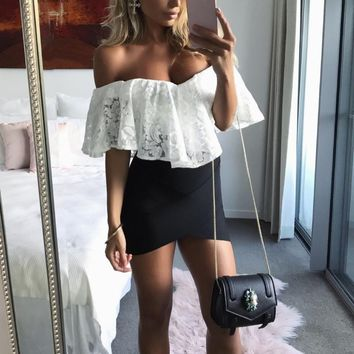 Women Sexy White Lace Of the Shoulder Sweetheart Hem Bodysuit