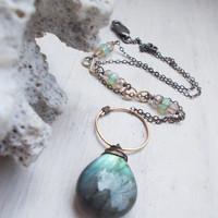 Blue labradorite briolette necklace, AAA quality, oxidized sterling silver, 14k goldfill, wire wrapped stone, baby blue opal czech glass