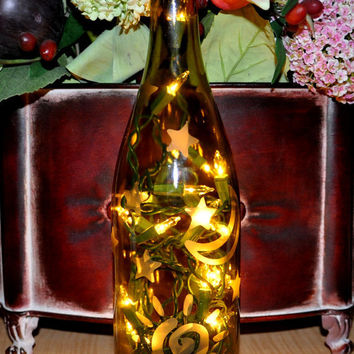 Celestial Sun Moon Stars Etched Lighted Wine Bottle by TipsyGLOWs