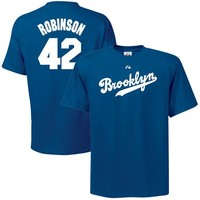Majestic L.A. Dodgers #42 Jackie Robinson Youth Royal Blue Cooperstown Player T-shirt