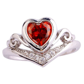 Bride Gift Heart Cut Garnet & White Topaz Gemstone Silver Rings Size 6 7 8 9 10