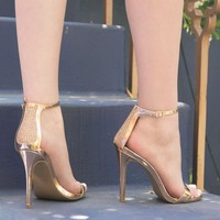 Dezi-68 Rose Gold Metallic One Band Ankle Strap Heel