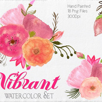Watercolor Flowers Clipart Files - High Res Transparent PNG - Hand Painted Digital elements - Instant download