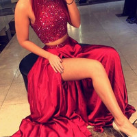 Hot Luxury Beaded Rhinestones Prom Dresses Deep O-Neck Mermaid Sleeveless Long Formal Evening Gowns Vestido De Festa Longo