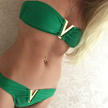 2016 New Metal Gather Deep V Biquini Sexy Women Bikinis Set Push Up Solid Tie Cute Swimwear Beach Swimsuit 2 Pieces Tankini