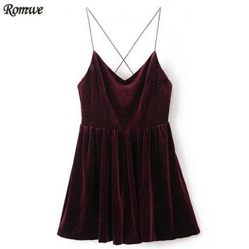 DCCKU62 ROMWE Rompers Womens Jumpsuit Sexy Clubwear Jumpsuits Ladies Sleeveless Spaghetti Strap Cross Back Velvet Romper