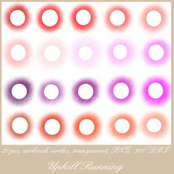"Airbrush Clipart circles, Paintbrush clip art dots, 20pcs, 4"", pink red purple transparent, 20 PNG,300 dpi, website blog scrapbooking supply"