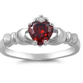 Sterling Silver Red Garnet CZ Irish Claddagh Ring Size 5 6 7 8 9 10