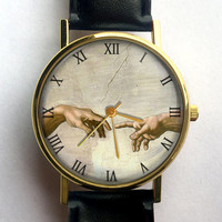 Michelangelo Watch, Unisex, Sistine Chapel, Renaissance Art, Ladies Watch, Men's Watch, Vintage Inspired, Analog, Gift Idea