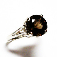 "Smokey quartz, smokey quartz ring,  solitaire ring, brown ring,brown,  s 6 3/4  ""Cocoa Brown"""
