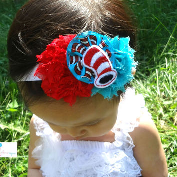 Dr Seuss Cat in the Hat Felt Headband / Baby Girl Story Book Headband / Dr Seuss Headband