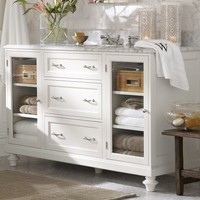 CLASSIC MODULAR SINGLE WIDE SINK CONSOLE WITH DRAWERS & GLASS DOORS