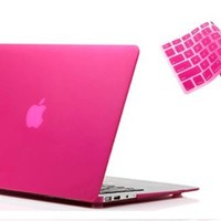 """RUBAN&#8482 2 in 1 Hard Case Cover and Keyboard Cover for Macbook Air 13-inch 13"""" A1369 A1466 (MATTE HOT PINK):Amazon:Cell Phones & Accessories"""