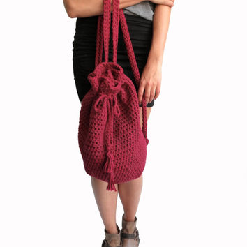Crochet Backpack Drawstring Mini Hipster Boho Purse // Coba Backpack in Garnet // Many Colors Available