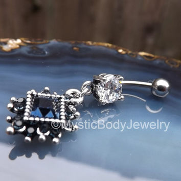 "Belly Button Ring 14g 7/16"" Silver Blue Diamond Gemstone Navel Piercing Rings Stone Charm Stainless Piercings Curved Barbell Bars Prong Set"