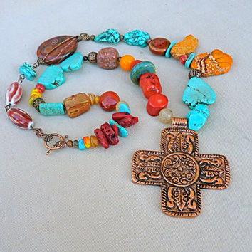 Southwestern Authentic Turquoise and Copper Necklace, statement necklace, New Mexico, copper cross, beaded necklace, chunky, large, rustic