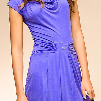 Beautiful summer dress with short sleeves and drapery.