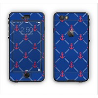 The Red & Blue Seamless Anchor Pattern Apple iPhone 6 LifeProof Nuud Case Skin Set