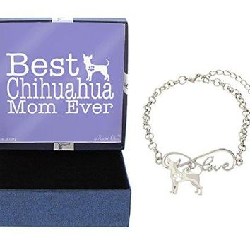 Best Dog Mom Ever Love Infinity Dog Paw Silhouette Charm Bracelet SilverTone Bracelet Jewelry Box