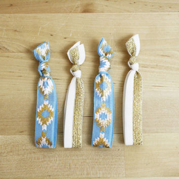Elastic Hair Ties / Ponytail Holders / FOE / Blue + Gold Metallic Print / Set of 4