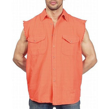 Mens Motorcycle Biker Shirt Orange Cut Off Sleeveless Cotton Denim Button up