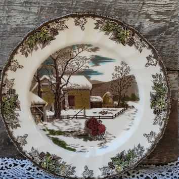 "Turkey Plate, RARE Dinner Plate from Johnson Brothers, ""Friendly Village Turkey"", 10 1/2"", Serving, Tableware, Holiday,"