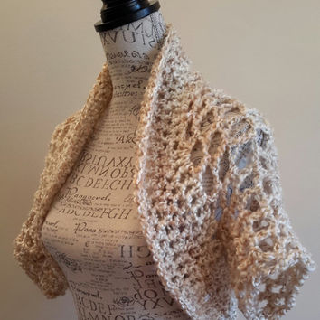 Crochet Cream Shrug. Bolero. Made by Bead Gs on ETSY. ladies Size Medium. Summer top. Tank top Cover.