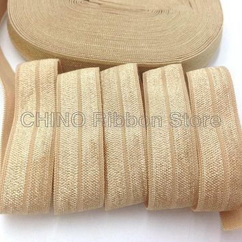 """10Y/lot Solid Gold Fold Over Elastic 5/8"""" Gold FOE Elastic Ribbon for Hair Tie Headwear Hair Accessories Many Colors Available"""