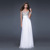 Fashion White Sweetheart Chiffon Prom  Dress with Beadings