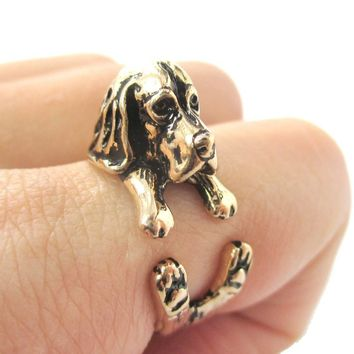 3D Basset Hound Dog Shaped Animal Wrap Ring in Shiny Gold | Sizes 4 to 8.5