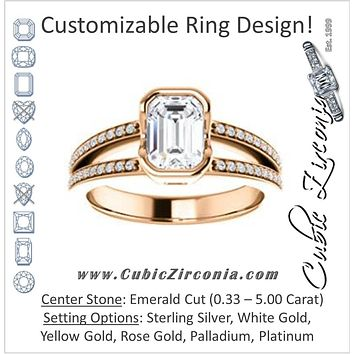 Cubic Zirconia Engagement Ring- The Monami (Customizable Bezel Emerald Cut with Split-pavé Band Accents & Euro Shank)