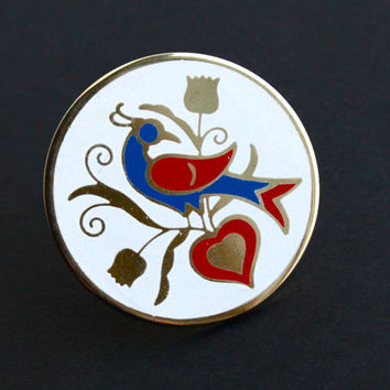 Vintage Hex Sign Brooch - 1970s Gold Tone White Enamel Large Statement Distlefink Bird Costume Jewelry / Dutch Goodluck