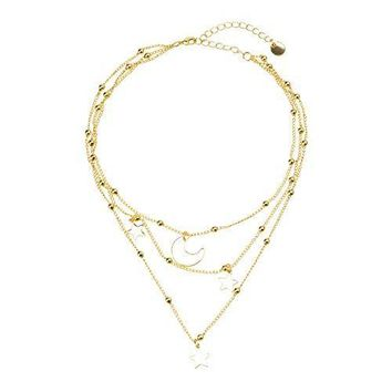 Amare Star & Moon Pendant Choker Necklace Set