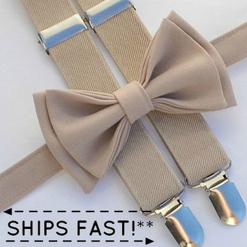 Beige / Tan Suspenders -- Beige / Tan Bow Tie -- Suspenders Bow Tie -- Ring Bearer Outfit - Christening Outfit