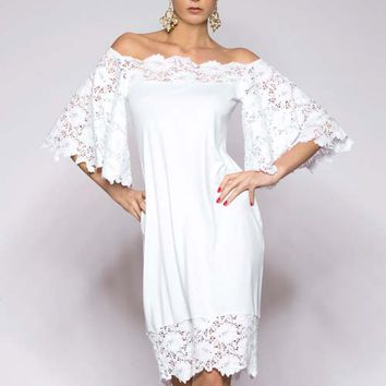 White Dress Lace Sleeves