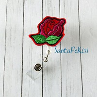 Rose  Badge Holder with retractable badge reel