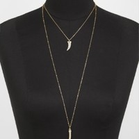 HI-LO PAVE HORN PENDANT NECKLACE