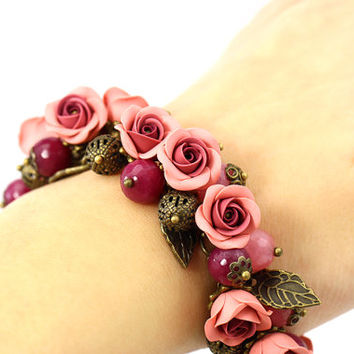 "Floral Bracelet ""Wine"" Burgundy Pink Feminine Jewelry Gift for Girl Romantic Gift Roses Polymer Clay Agate Beads Floral Jewelry"