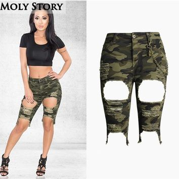 Fashion Punk Metal Chain Knee Length Camouflage Denim Shorts Women Short Jeans with Hole Jeans High Waist Jean Shorts Femme
