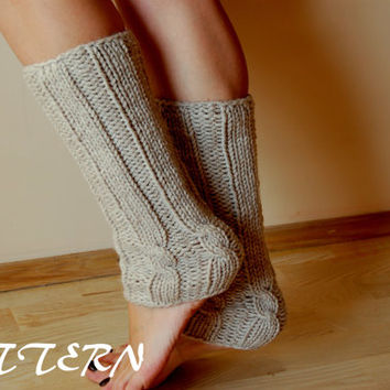 Knit Leg Warmers Cable Pattern : KNITTING PATTERN : Cable Knit Leg Warmers from lulupattern on