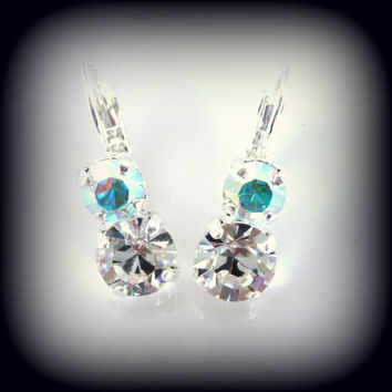 Swarovski crystal earrings, 2 stone crystal and crystal AB, bridal, not sabika but just as sparkly, double bling