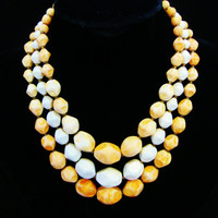 Signed JAPAN Marbled Orange & White Triple Strand Necklace 1950s Hollywood Regency Multistrand Designer Signed Jewelry Perfect For Spring