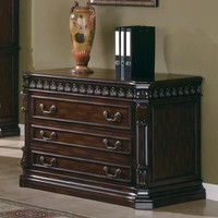 Tucker collection traditional style rich brown finish wood office filing cabinet