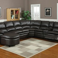 6 pc Nicole espresso bonded leather sectional sofa with recliners and chaise