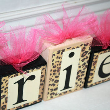 Ariella Collection -Leopard Print w/ Beige and Black & Hot pink tulle Personalized Blocks -Baby - Baby Shower