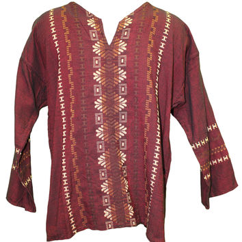 Men's Oaxacan Embroidered Shirt - Burgundy