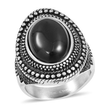 Black Agate Black Oxidized Stainless Steel Ring