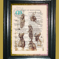 Da Vinci Anatomy of a Man -- Vintage Dictionary Book Page Art - Upcycled Page Art - Collage Mixed Media Art